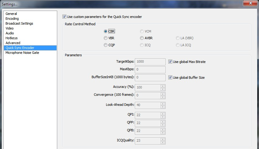 Custom parameters of Quicksync | OBS Forums
